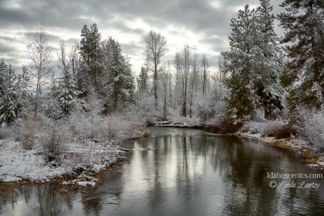Idaho, West Central Idaho, McCall, Lake Fork Creek on a December morning.