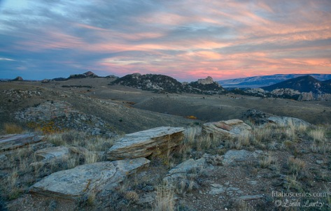 Idaho, South Central, Albion. Sunrise at City of Rocks in autumn.
