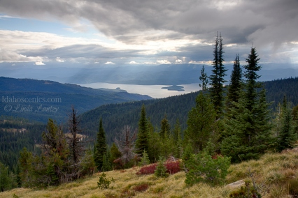 Idaho, North, Bonner County. Priest Lake as viewed from the crest of the Selkirk Range looking west on a late summer afternoon.