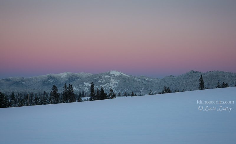 Idaho, North, Harrison.  Rural snow covered landscape, under a pink sunset sky.