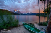Idaho, South central, SNRA, Stanley. Stanley lake under sunset skies in late spring.