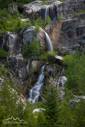 Idaho, Eastern, Driggs. A spring waterfall along the South Teton Canyon Trail in the Jedediah Smith wilderness area.