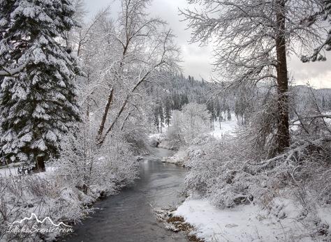 Idaho, North, Kootenai County, Coeur d'Alene. Wolf Lodge Creek on a winter day.