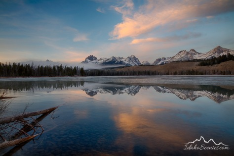 Idaho, South Central, Stanley. Little Redfish Lake on a November morning.
