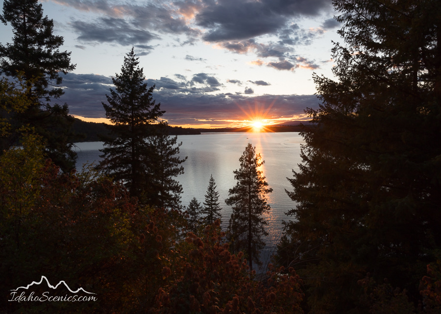 Idaho, North, Kootenai County, Hayden. A late summer sunset over Hayden Lake.