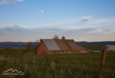 Idaho, North Central, Grangeville. Soft evening light on a faded red barn underneath an almost full moon in May.