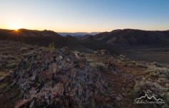 Idaho, South Central, Custer County, Challis. Sunrise in the Salmon River Mountains in spring.